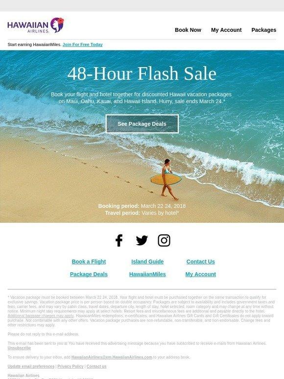 Hawaiian Airlines: 48-HOUR FLASH SALE! Save big on a Hawaii