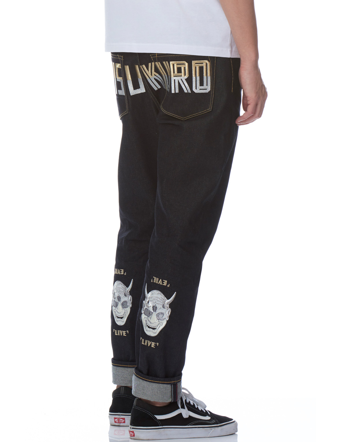 4e78c6034533 Carrot-fit Denim Jeans with Logo and Hannya Skull Motif Embroidery