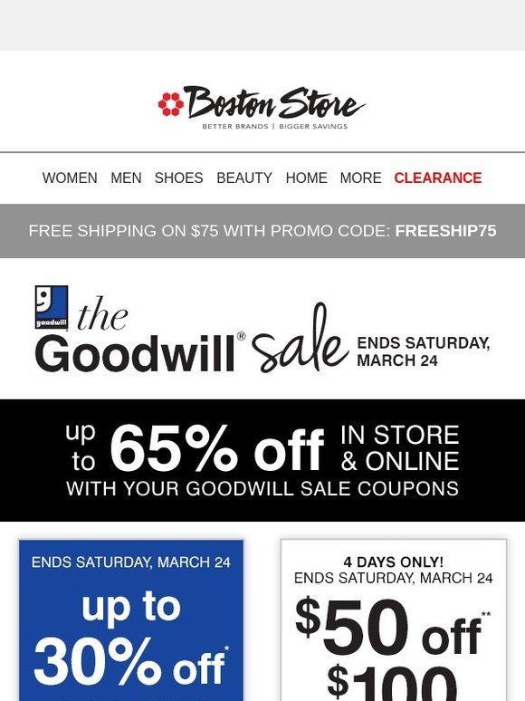 Bostonstore Com Save Up To 70 On Looks For Him With Your Goodwill