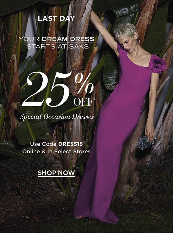Saks Fifth Avenue: Last day to take 25% OFF special occasion dresses ...