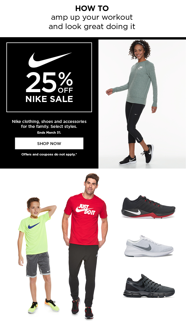 25% off Nike for the family. Select styles. Ends March 31. Shop
