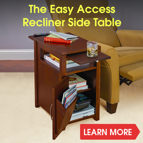 Beau Hammacher Schlemmer: The Easy Access Recliner Side Table | Milled
