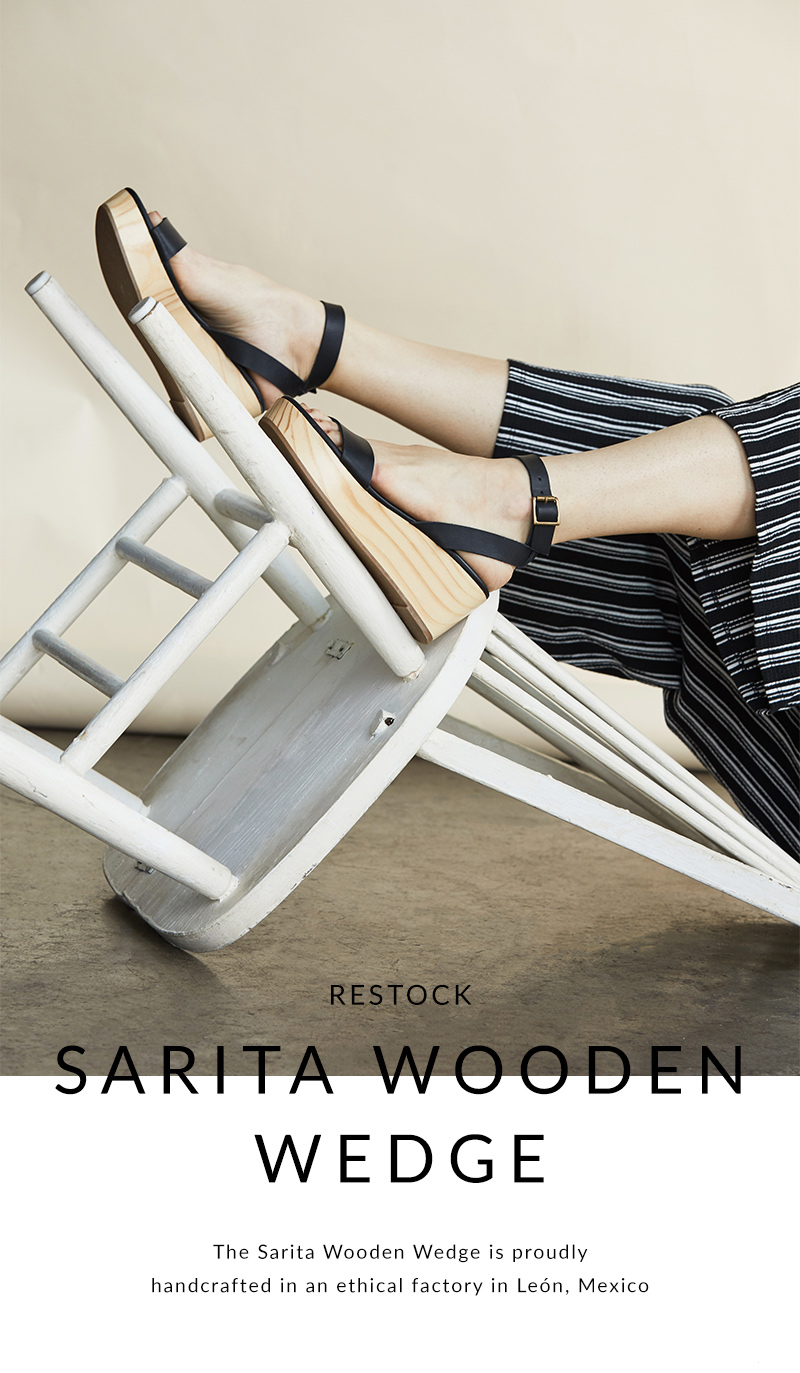 bb0793230a Nisolo: New Arrival | Sarita Wooden Wedge | Milled