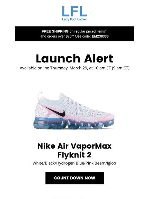7c4980cebf Lady Foot Locker: Nike Air VaporMax Flyknit 2 – available 3/29 | Milled