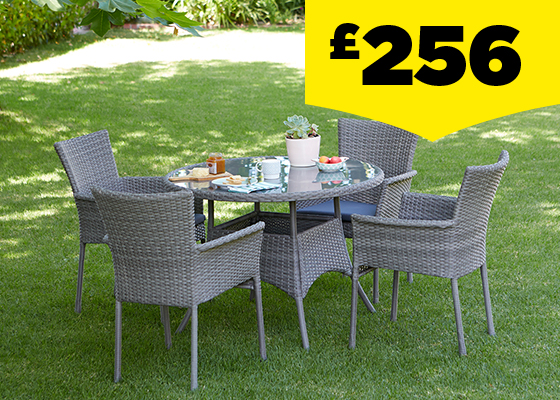 Mali Grey Rattan 4 Seater Round Stacking Garden Furniture Set