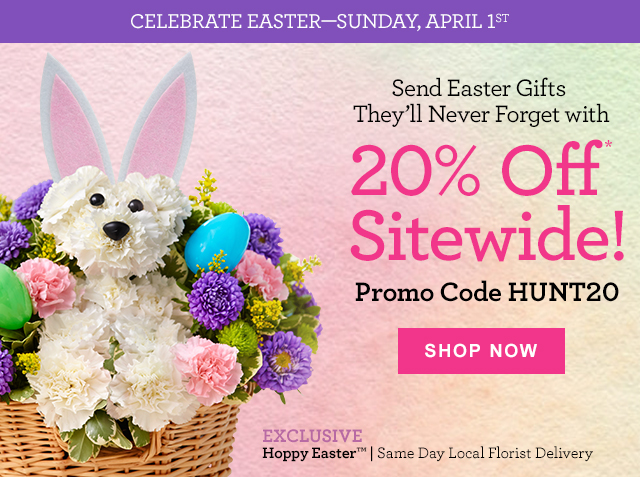 1 800 flowers save 20 sitewide on easter gifts for all your celebrate easter sunday april 1st send easter gifts theyll never forget with 20 negle Choice Image