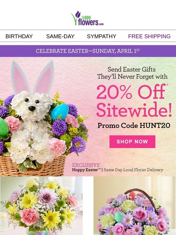 1 800 flowers save 20 sitewide on easter gifts for all your 1 800 flowers save 20 sitewide on easter gifts for all your peeps milled negle Gallery