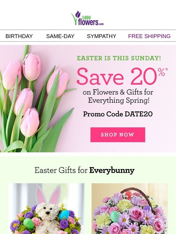 1 800 flowers last chance to save 20 on gifts for easter 1 800 flowers last chance to save 20 on gifts for easter birthday more milled negle Choice Image
