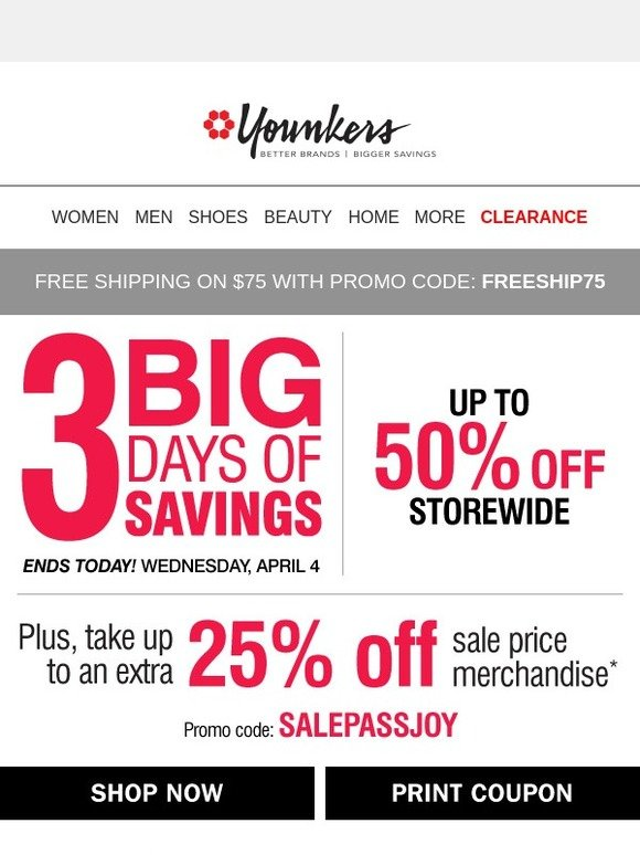 85cee591ef3 Younkers  25% Savings Pass Ends TODAY (Coupon Inside!)