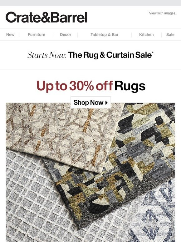 Crate and Barrel: RUG SALE starts now. | Milled