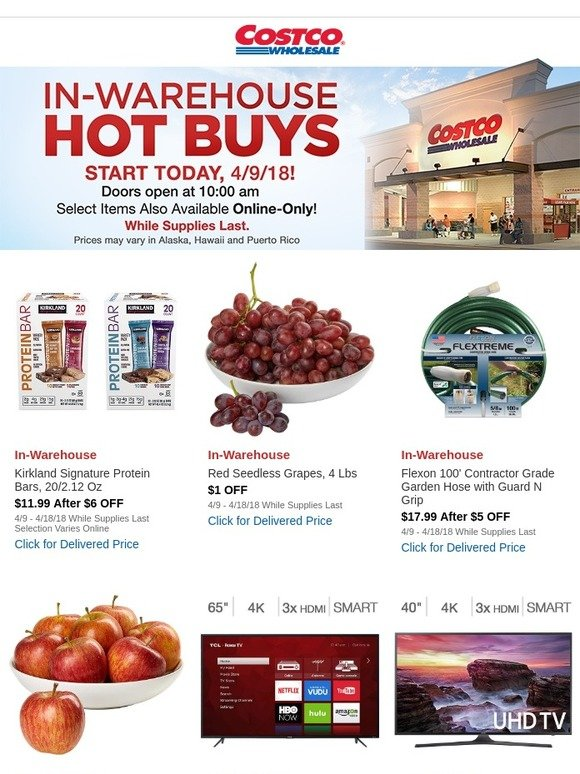 Costo: New In-Warehouse Hot Buys Starts Today, 4/9/18! Doors Open at