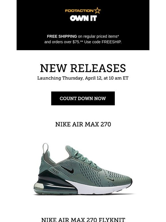 huge selection of 55b1f a9a62 Footaction : Nike Air Max 270 and 270 Flyknit – available ...
