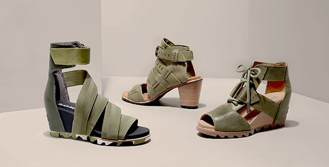 Three different SOREL sandals in olive drab.