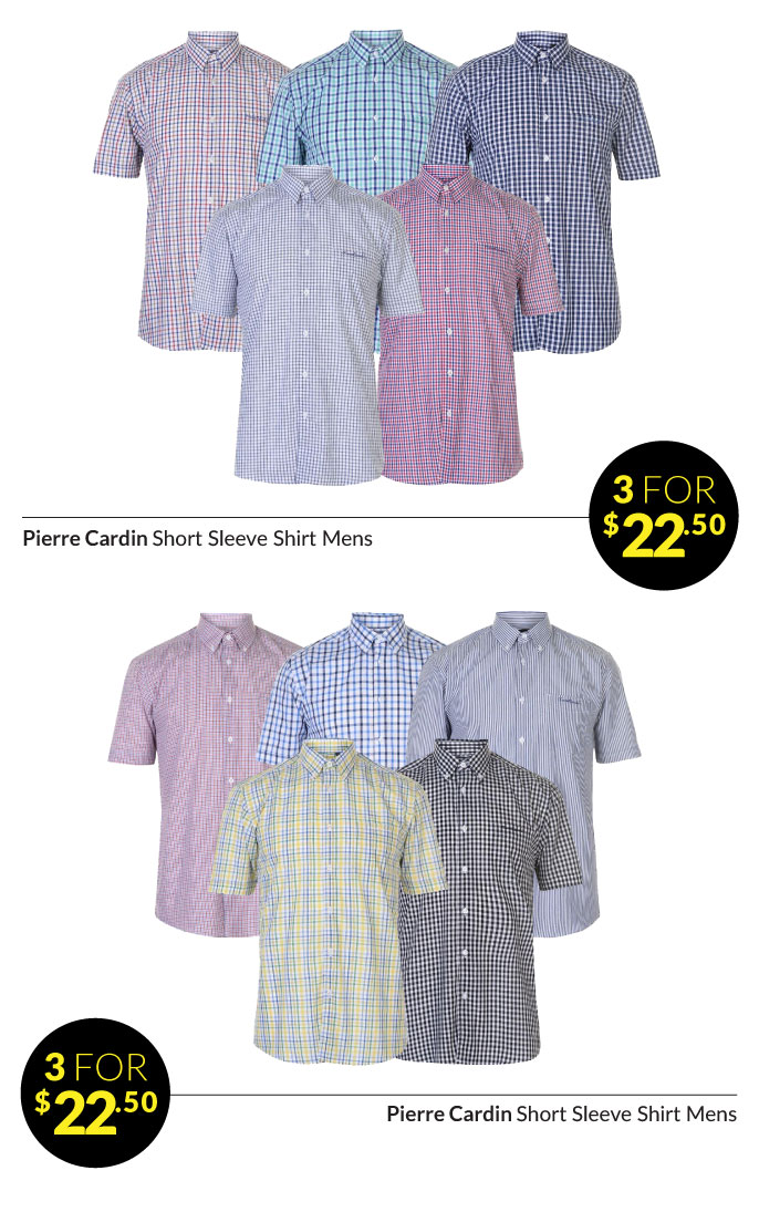 Sportsdirect Com 3 For 22 50 Pierre Cardin Check And Stripe Shirts