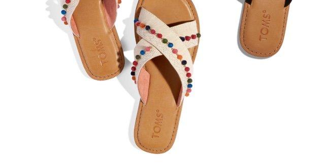 Natural Hemp Pom Poms Women's Viv Sandals