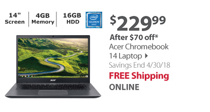 Acer Chromebook 14 Laptop, Intel Celeron 3855U Processor, 4GB Memory, 16GB Hard Drive