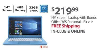 HP Stream Laptop, Intel Celeron N3060, 4GB Memory, 32GB eMMC Drive with Bonus Office 365 Personal - Blue