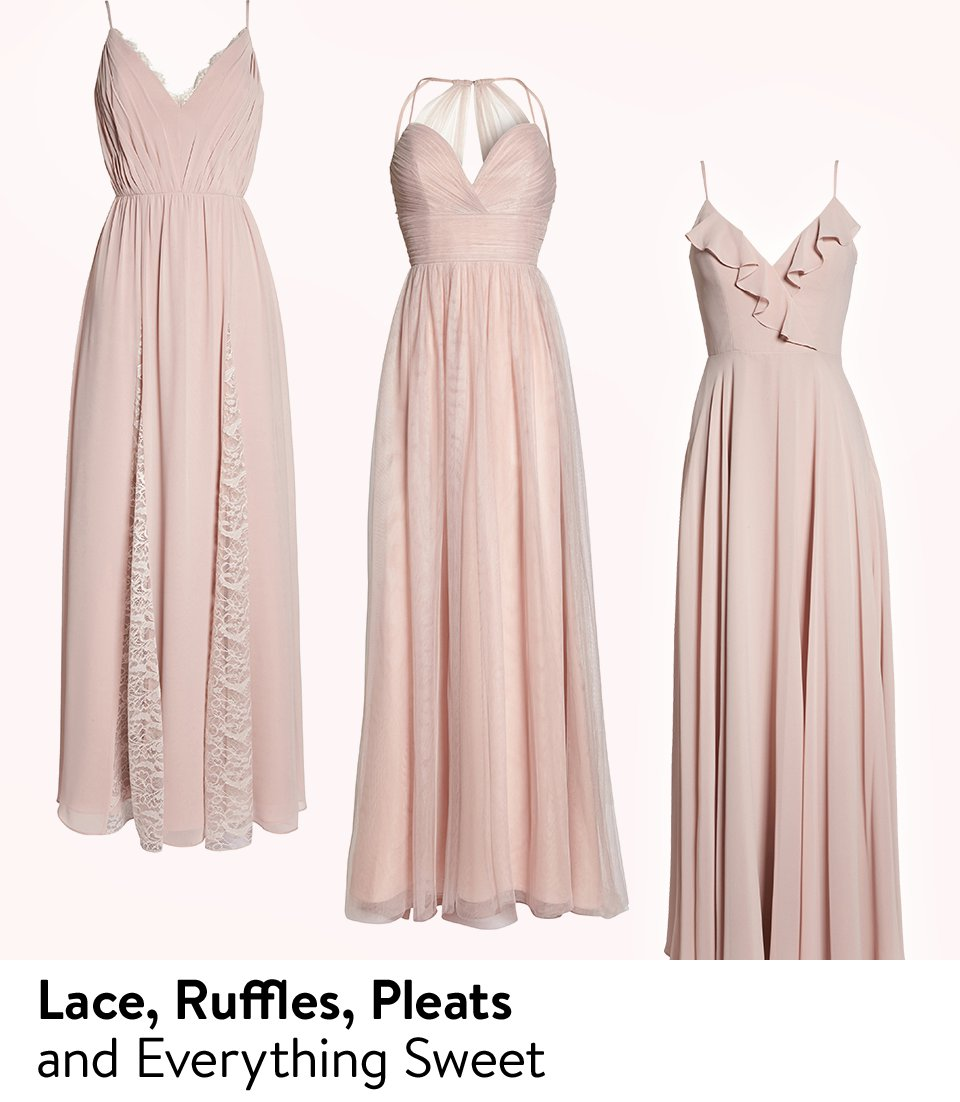 Bridesmaid dresses featuring lace, ruffles and pleats.