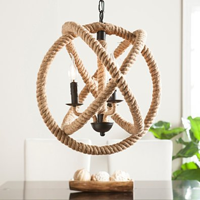 Mayberly 3-Light Rope Orb Pendant Lamp