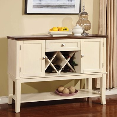 Transitional Wooden Server, Cream & Brown