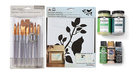 Paint, Fine Art Brushes and Craft Stencils.