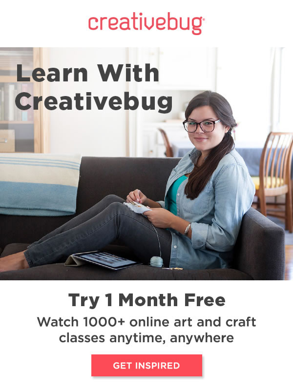 Learn With CreativeBug. 1 Month Free. GET INSPIRED.