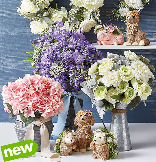 NEW! Spring Floral, Containers, Decorative Mesh and Ribbon.