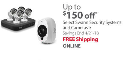 up to $150 off select swann security