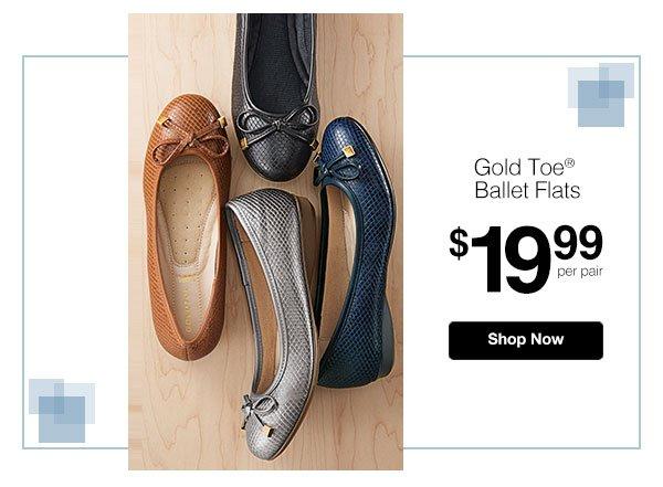 Gold Toe Ballet Flats