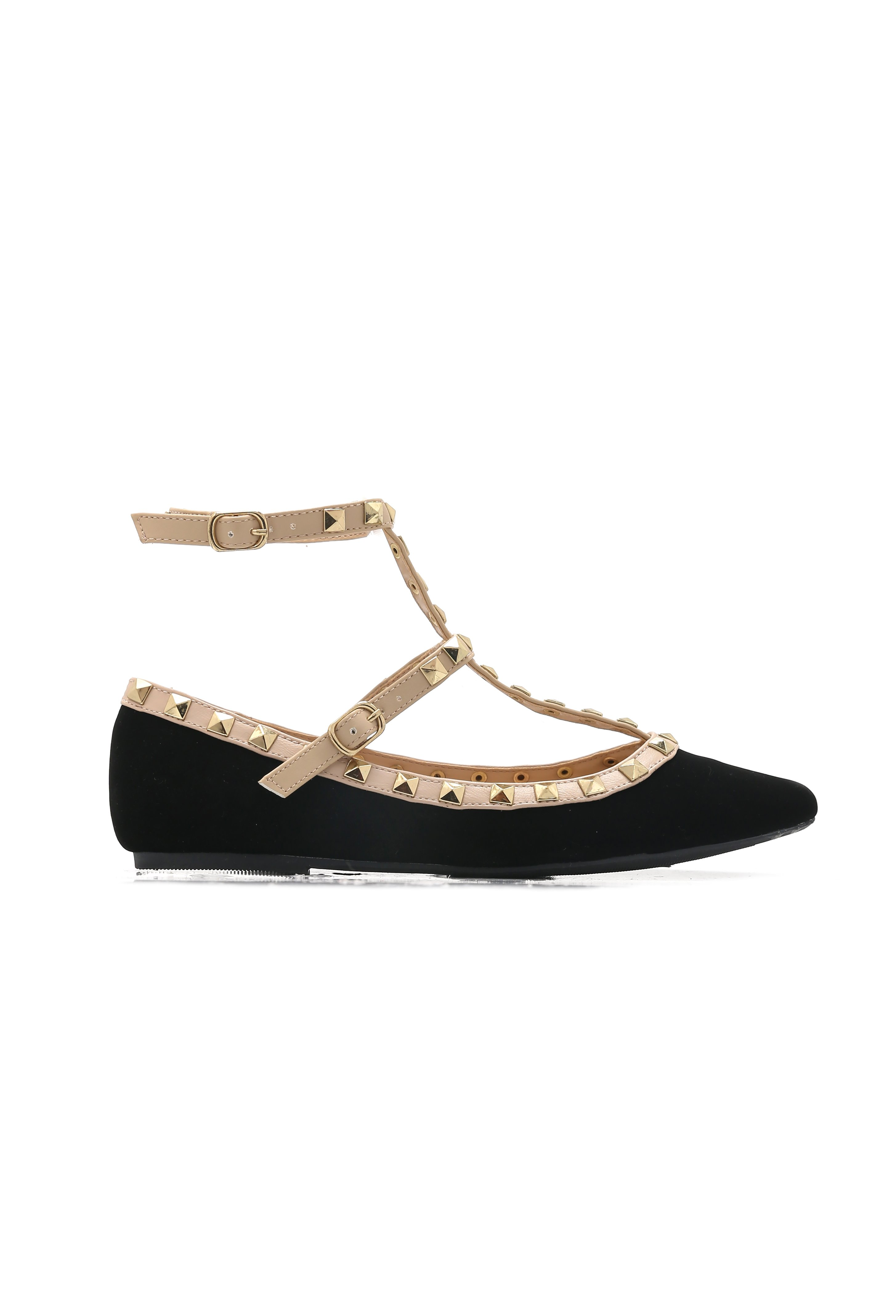 Catch Up To Love Studded Flat - Black