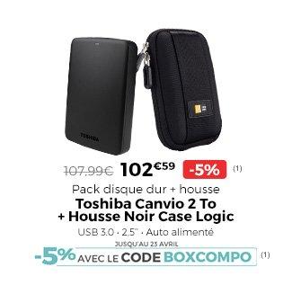 Pack disque dur Toshiba Canvio 2 To + housse Case Logic - 143,99