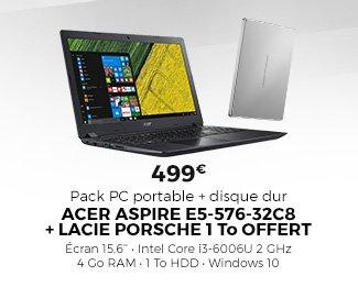 Pack PC portable ACER ASPIRE E5-576-32C8 + disque dur Lacie Porsche 1 To offert - 499