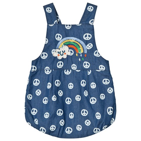 Tootsa MacGinty Blue Rainbow Embroidered And Peace Sign Romper