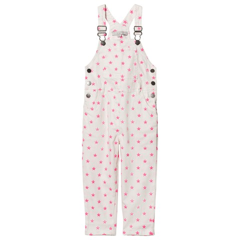 Stella McCartney Kids EXCLUSIVE White Neon Pink Embroidered Star Dungarees