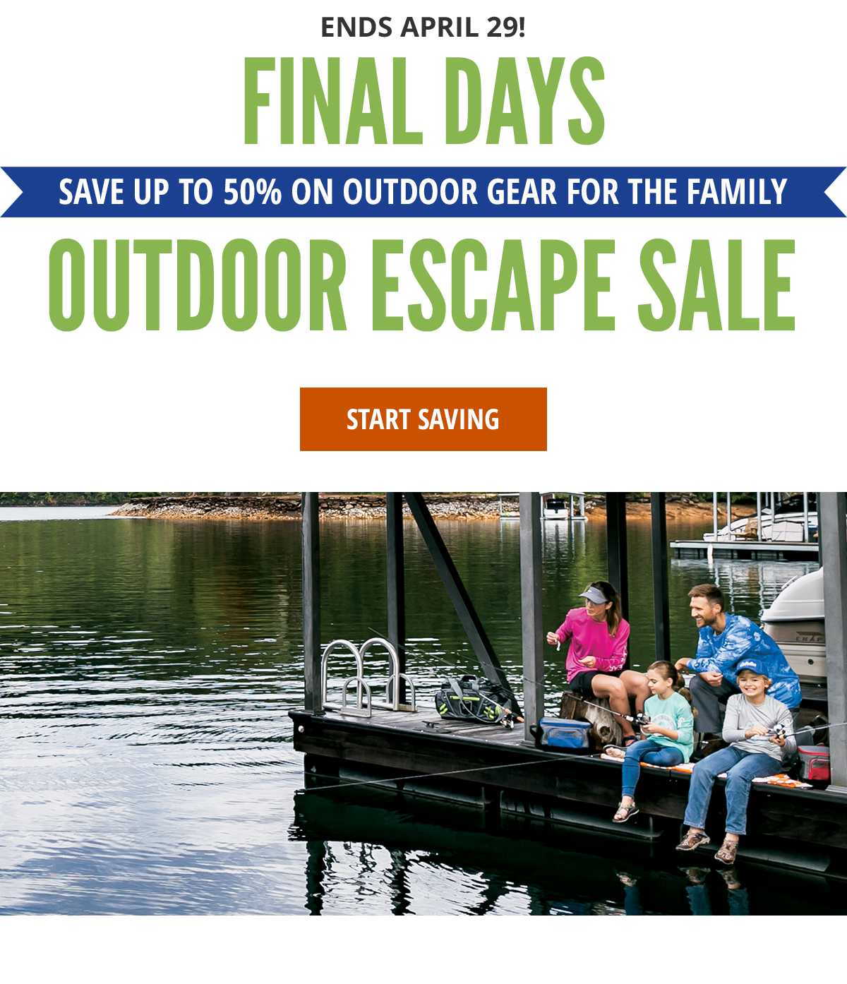 Save up to 50% - Outdoor Escape Sale