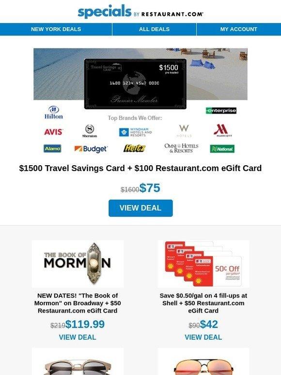 13b3b73192ac Restaurant.com   1500 Travel Savings Card for  75