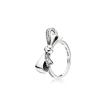 BRILLIANT BOW RING, CLEAR CZ  PANDORA  $65