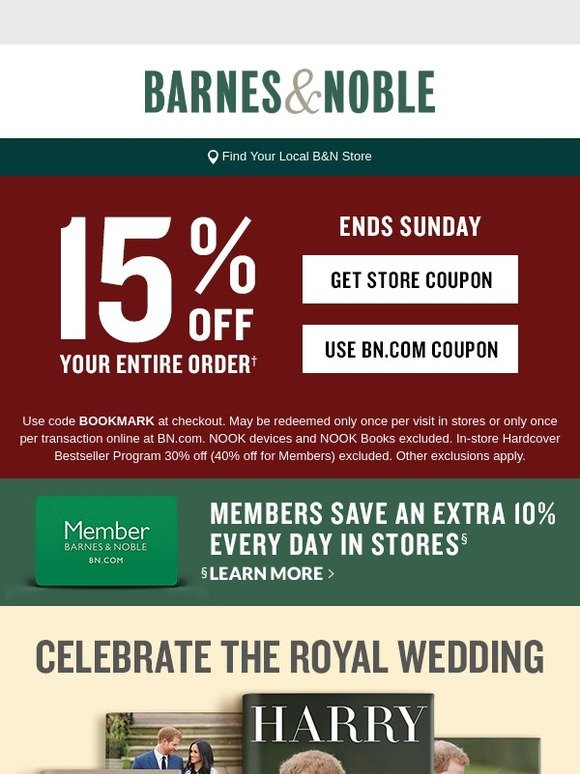 Barnes & Noble: Your B&N Coupon is Here! 15% Off Your Entire
