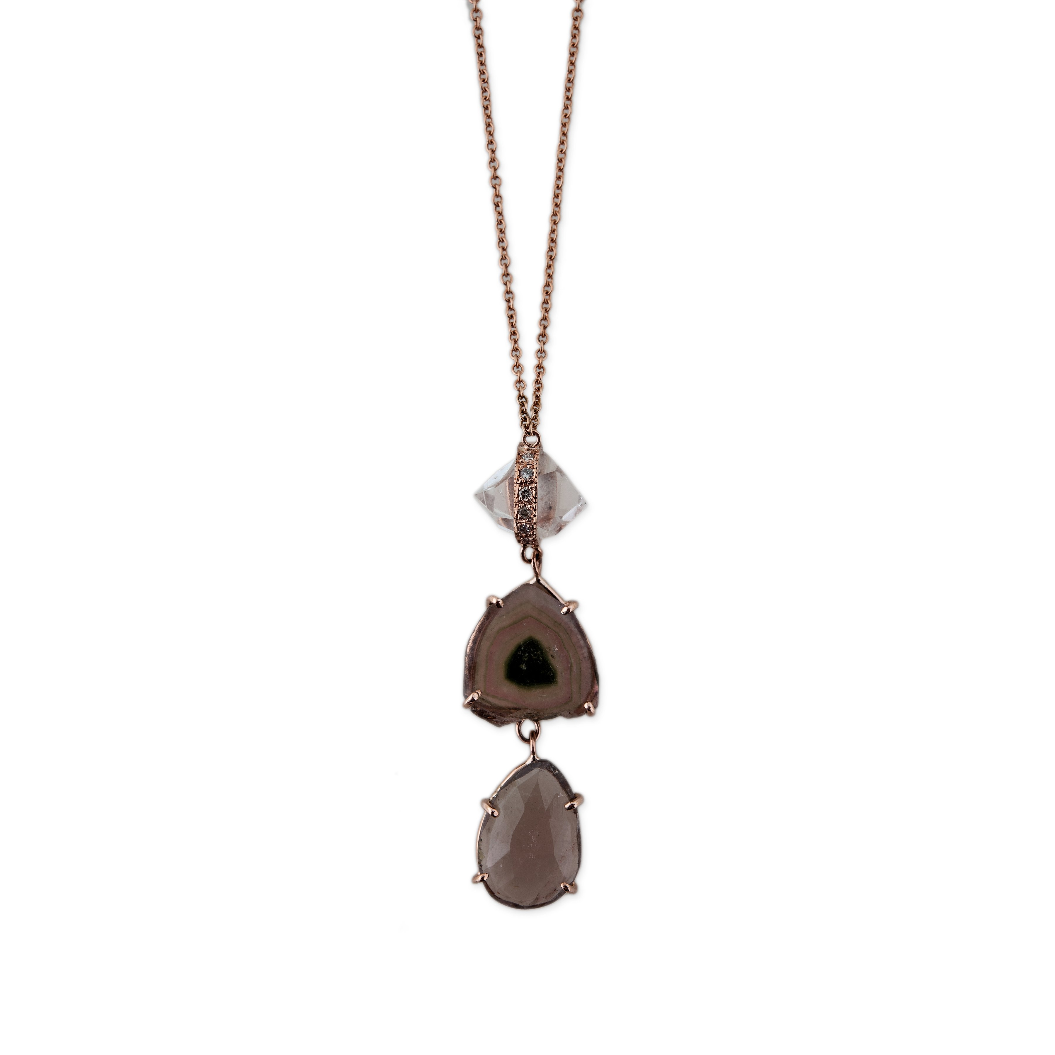 Image of Herkimer Watermelon and Topaz Necklace