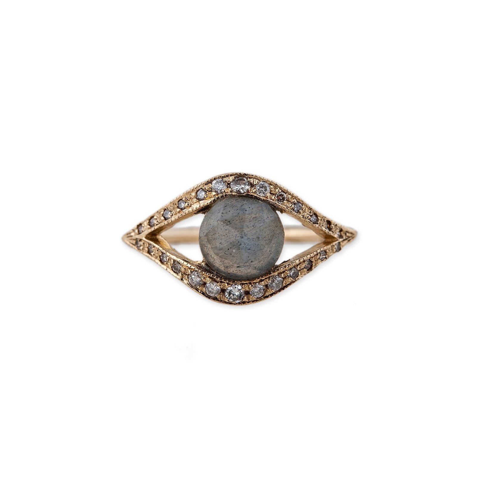 Image of Pave Diamond Gemstone Center Eye Ring