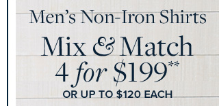 MEN'S NON-IRON SHIRTS | MIX & MATCH 4 FOR $199**