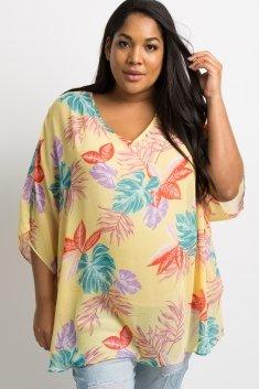 07355a2c0 Yellow Tropical Palm Leaf Plus Maternity Poncho Top