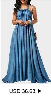 Solid Blue Open Back Maxi Dress