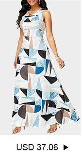 Cutout Back Pocket Printed Sleeveless Maxi Dress