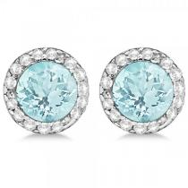 Diamond and Aquamarine Earrings Halo 14K White Gold (1.15tcw)