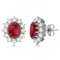 Oval Ruby and Diamond Earrings 18k White Gold (7.10ctw)