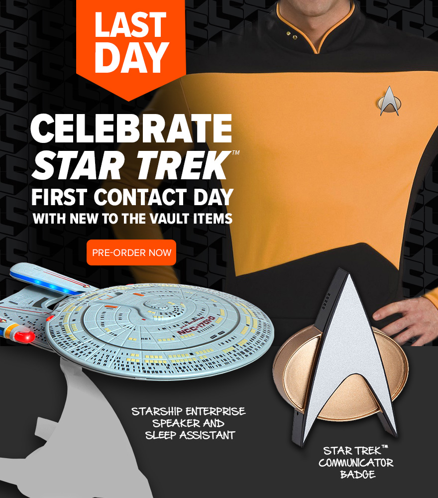 Celebrate Star Trek First Contact Day with new to the Vault items: - Starship Enterprise speaker and sleep assistant - Star Trek communicator badge Pre-order now >