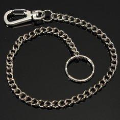 Silver Long Chain Clasp Keyring Metal Waist Belt Keychain