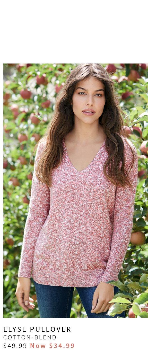 Elyse V-Neck Hi Low Knit. Cotton-Blend, $49.99 Now $34.99 >
