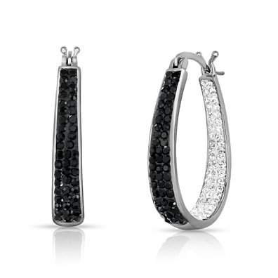 Inside Out Swarovski Crystal Hoops With 2.00CT Crystal Studs
